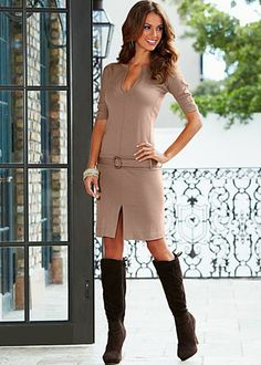 Light Brown Drop waist dress from VENUS