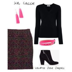 LuLaRoe Outfit Featuring LuLaRoe Cassie. I love when a piece can be the feature in an outfit paired with black. I personally would pair this Cassie with a LuLaRoe Lynnae or Classic T. Then add some fun pink details for added spice.