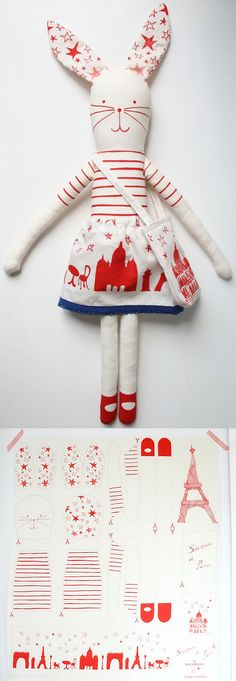 I Love Paris Bunny --- This is a kit to make your own fabric Rabbit --- from mikodesign at etsy
