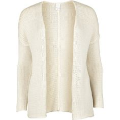 Vila Cass Knit Cardigan ($13) ❤ liked on Polyvore featuring tops, cardigans, outerwear, sweaters, jackets, off white, cardigan top, open front cardigan, short-sleeve cardigan and long sleeve knit tops