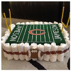 Diaper cake football theme