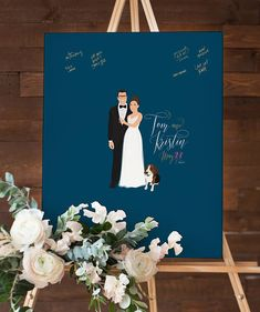 Our navy guest book alternative couple portrait guest book captures the love and well wishes of your wedding guests in a fun, new way. Unlike a traditional guestbook, guests sign this large print instead of a book. Afterwards, you can hang it in your home as a keepsake.