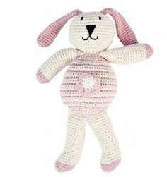 All babies love bunnies! Our hand crocheted organic cotton bunnies are bound to become a favourite with your little one.  The perfect newborn baby shower gifts!  100% Organic Cotton.  Approx. 25cm