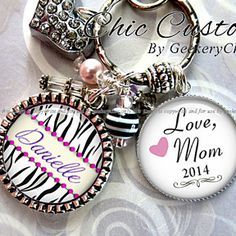 "Gift to Daughter from Mom Personalized Necklace or Keychain ""Love Mom"" by ChicBridalBoutique on Opensky"