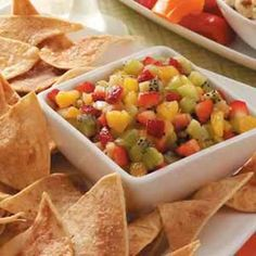 Fruit Salsa with Cinnamon Chips - super simple dish with lots of great flavor. Great for a light snack or sweet appetizer. Added 1 mango as well as the zest from an orange and half a lemon for extra flavor.