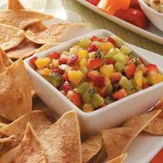 Fruit salsa and cinnamon chips!