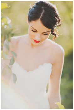 Beautiful #bride photographed in an apple orchard. Styling by Sarah Park Events, dress by Romona Keveza from Garnish Boutique, hair by Melanie Medeiros, makeup by Makeup Artist Liz Wegrzyn. Photographed at Baugher's Orchard by Nessa K Photography. #wedding #bridal
