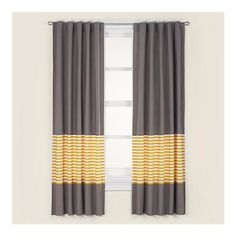 Curtain inspiration - Kids Grey & Yellow Curtain Panels - modern - kids decor - by The Land of Nod Yellow And Grey Curtains, Striped Curtains, Gray Curtains, Bedroom Curtains, Yellow Bedding, Yellow Nursery, Yellow Stripes, Grey Yellow, Windows