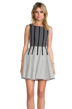 Line & Dot Binding Detail Dress in Grid Black from REVOLVEclothing