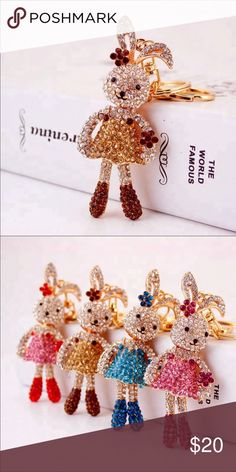 c88c2d01ece4 Glitzy Crystal Gold Rabbit Purse Charm Keychain