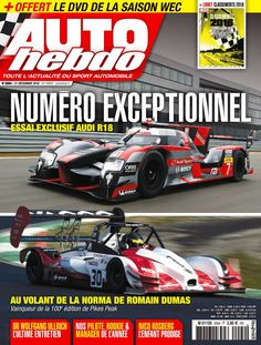 Romain Dumas the 2016 overall winner of the Pikes Peak Hill Climb race . His car on the cover of a French magazine.
