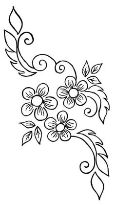 Embroidery Flowers Pattern, Hand Embroidery Designs, Beaded Embroidery, Flower Patterns, Embroidery Stitches, Flower Coloring Pages, Embroidery Fashion, Beautiful Drawings, Fabric Painting