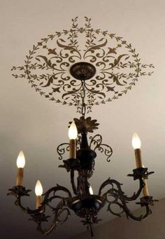 Elegant Light Fixture Decor - Classic Paint Stencils with European Design - Wall and Ceiling Medallion Stencils - Royal Design Studio Ceiling Murals, Ceiling Decor, Ceiling Design, Wall Design, Roof Ceiling, Design Design, House Design, Stencil Painting On Walls, Paint Stencils