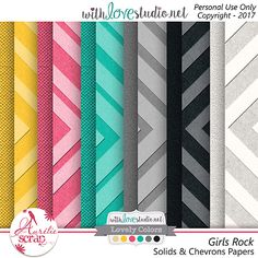 """Solids & Chevrons Papers""""Girls Rock"""" by Aurélie Scrap. I love music, and here my famous girls !! Music is in the air !! I propose you this pack of papers which can only embellish your most beautiful photos. Here is my May 2017 Lovely Colors. #scrap #scrapbooking #digital #inspiration #DIY #lovelycolors #wls #withlovestudio"""