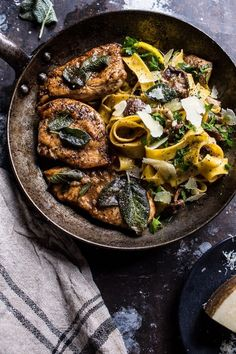 Browned Sage Butter Chicken Piccata with Mushroom Pasta, this will be your new fall favorite, AND, it's ready in under an hour! From halfbakedharvest.com