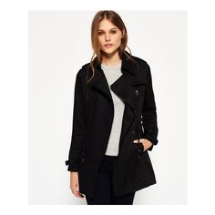 Superdry Draped Trench Coat ($125) ❤ liked on Polyvore featuring outerwear, coats, black, leather-sleeve coats, superdry coat, superdry, drape coat and metal coat
