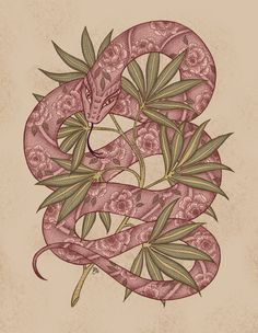 Ink on paper + digital color<br/> snake, flowers, vintage, zoological, animal, nature, leaves, illustration, art
