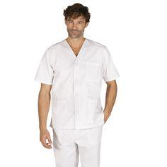 650 - blusa sanitario unisex en color blanco con cuello pico y botones #medico #enfermera #doctor #hospital #batasanidad