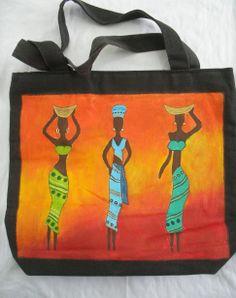 Bolso de tela con figuras de mujeres africanas