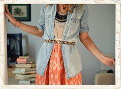 leopard belt. coral skirt