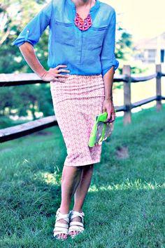 Blue blouse + Geo skirt + Statement necklace | http://prettylifeanonymous.blogspot.com/