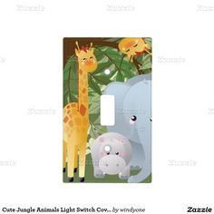 Cute Jungle Animals Light Switch Cover