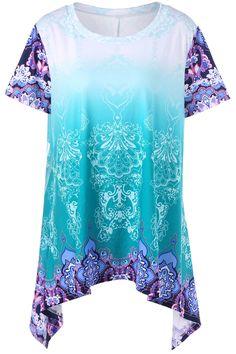 $18.91    Plus Size Ombre Graphic Asymmetrical T-Shirt