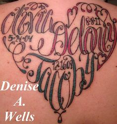 If i would get another tatoo. not the same names! :) Names made into a Heart Shaped Tattoo by Denise A. Heart Tattoos With Names, Name Tattoos, Sexy Tattoos, Tattoo Names, Tatoos, Shape Tattoo, 1 Tattoo, Tattoo Kits, Parent Tattoos