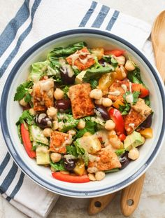 Fattoush salad with avocado, chickpeas and a creamy tahini dressing {vegan}