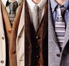 Men's fashion. Tie with cardigan.