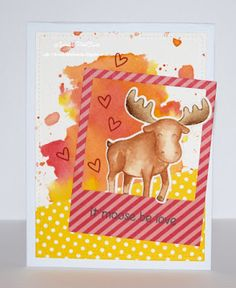 InvisiblePinkCards: Valentine's Day card using Tim Holtz Distress Inks and Lawn Fawn stamps, dies and paper