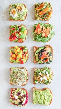 10 easy ways to fancy up your avocado toast for breakfast, lunch and yes, even dinner! How to make Avocado Toast 10 Ways! Ten easy ways to fancy up your avocado toast for breakfast, lunch and yes, even dinner! Good Healthy Recipes, Healthy Meal Prep, Healthy Snacks, Snack Recipes, Healthy Eating, Cooking Recipes, Dinner Healthy, Dinner Recipes, Healthy Breakfasts