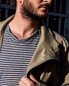 Love the stripes Men's Style, Stripes, Mens Fashion, Mens Tops, T Shirt, Male Style, Moda Masculina, Supreme T Shirt, Men Styles