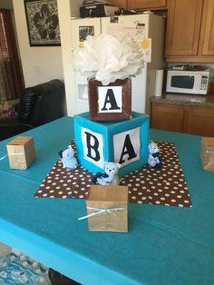 Alphabet Blocks And Teddy Bear Themed Centerpiece Baby