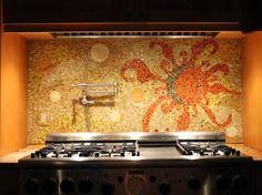 Custom Mosaic Back Splash in Medfield, MA eclectic kitchen tile http://mosaicsbyariel.com