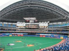 One of the great wonders when it first opened. Blue Jays fans enjoyed NY'er heckling recently traded former Yankee Ruben Sierra. Model for all other facilities with retractable roof. first visit: june Sports Stadium, Stadium Tour, Northern Lights Canada, Toronto Pictures, Concession Stands, Powdered Donuts, Roger Clemens, Rogers Centre, Mlb Stadiums