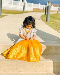 And the cutest little bridesmaid is ready in the most alluring color combination Frocks For Girls, Dresses Kids Girl, Girl Outfits, Baby Dresses, Girls Frock Design, Baby Dress Design, Kids Lehanga Design, Lehanga For Kids, Baby Frocks Designs