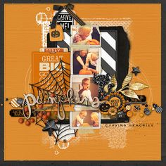 Pumpkin Carving Scrapbook Page for Halloween from Kayleigh at DesignerDigitals.com