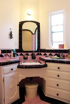 Vintage Pink and Black Tile Bathroom in Chelsea & Alex's Balanced Style Blend House Tour | Apartment Therapy