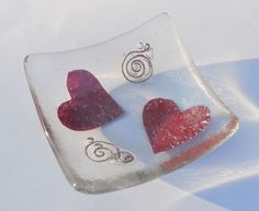 Copper Hearts Glass Trinket Dish - Birthday,Valentine,friend,ruby wedding, gift