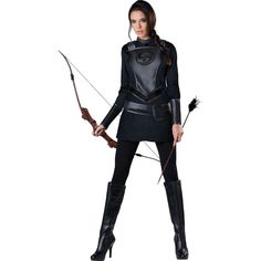 Womens Warrior Huntress Costume ($40) ❤ liked on Polyvore featuring costumes, costume, halloween costumes, lady costumes, white costume, ladies costumes, women warrior costume and warrior costume