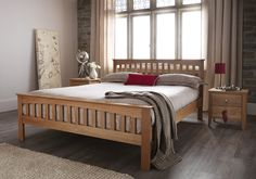 Sandringham Oak Small Double Bed Frame is crafted from American White Oak. Beds Specialists in UK. Small Double Bed Frames, Oak Double Bed, Solid Oak Beds, Super King Bed Frame, 4ft Beds, Oak Bed Frame, Upholstered Bed Frame, Bed Slats, Cool Beds