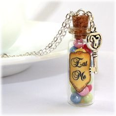 Alice In Wonderland Eat Me Glass Bottle Necklace with a Key Pendant Charm #Pendant