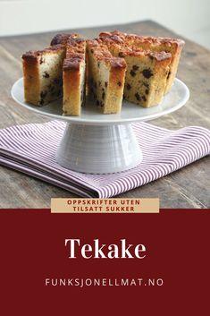 Tekake - Funksjonell Mat | Oppskrift uten sukker | Kakeoppskrift | Sunn dessert | Tea cake | Sugar free cake Banana Bread, French Toast, Cakes, Breakfast, Desserts, Food, Morning Coffee, Tailgate Desserts, Deserts