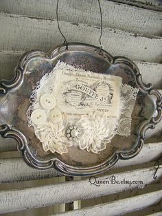 Handmade Altered Silver Tray by QueenBe Shabby White Decor Antique Lace, Vintage Lace, Vintage Silver, French Vintage, Silver Platters, Silver Trays, All About Me Art, Tulle Flowers, Tarnished Silver