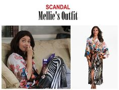"On the blog: Mellie Grant's (Bellamy Young) printed kimono | Scandal 401 - ""Randy, Red, Superfreak and Julia"" #SeasonPremiere #FLOTUS #tvfashion #tvoutfits"