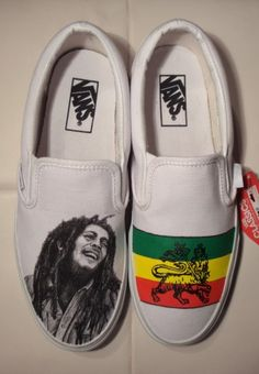 custom painted vans with bob marley theme