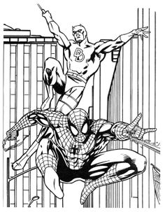 Batman and spiderman coloring sheet. Who doesn't know Batman? Maybe all Dc fans and superhero movie fans must have heard at least this Batman figure. Batman is one of the most famous supe. Avengers Coloring Pages, Superhero Coloring Pages, Spiderman Coloring, Lego Coloring, Marvel Coloring, Coloring Pages For Kids, Super Coloring Pages, Cartoon Coloring Pages, Coloring Pages To Print