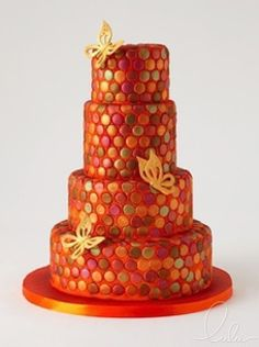 Vibrant Red and Orange cake with butterflies from Lulu Cake Boutique in Scarsdale, New York. www.everythinglulu.com