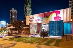15 Unexpectedly Cool Shipping Container Garage Conversion Plans & Ideas - Home Decor Ideas Container Bar, Shipping Container Cafe, Shipping Container Buildings, Container Restaurant, Container Office, Container House Design, Container Architecture, Eco Architecture, Container Conversions
